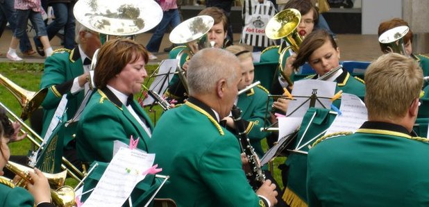 Shepley Band playing in the town centre