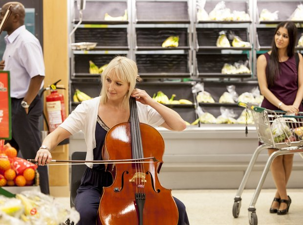 Cellist performs in Handel in Morrisons