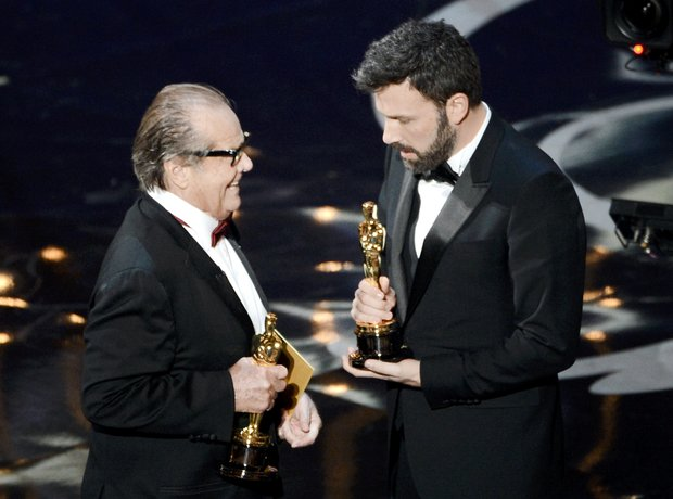 Jack Nicholson and Ben Affleck on stage at the Osc