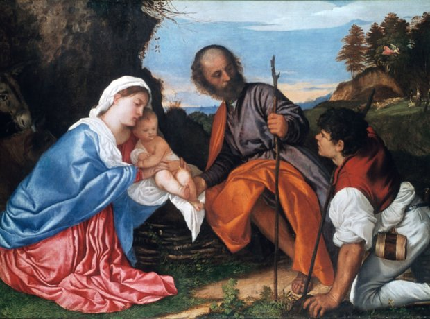 The holy family shepherd painting Titian