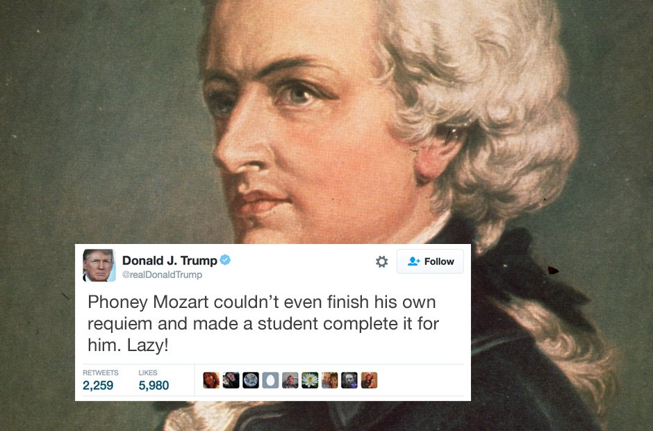 Donald Trump reviews the masterpieces of classical