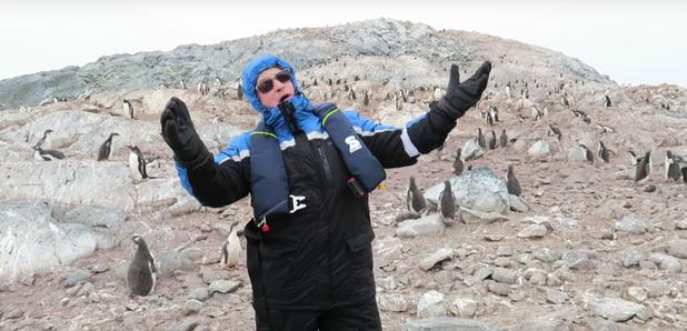 penguins run away from opera singer