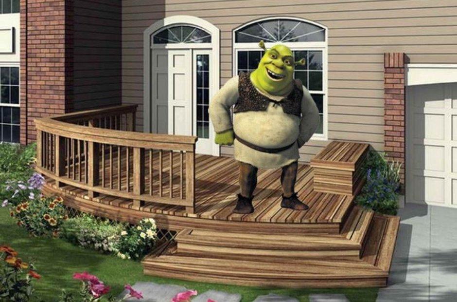 Shrek on a deck